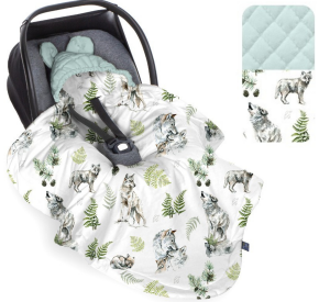 Kocyk do fotelika Wolf Sky Gray - Mint / Babysteps