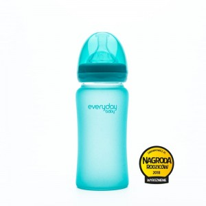 Szklana butelka reagująca na temperaturę 240 ml Turkusowa / Everyday Baby